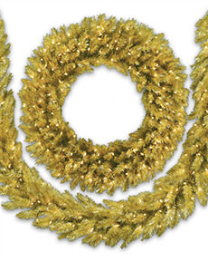 Treetopia Toasted Champagne Christmas Wreath and Garland