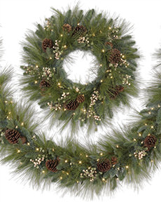 Treetopia Harvest Pine Artificial Christmas Wreath And Garland