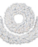 Treetopia Winter White Christmas Wreath and Garland
